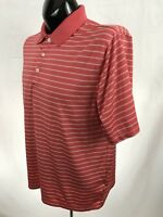 PALM BEACH Mens Golf Polo Shirt L Peach Striped Performance Polyester S/S Casual