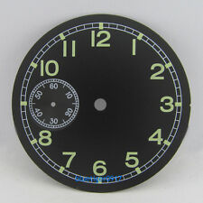parnis 38.9mm black watch dial fit SEAGULL hand wind 6497 movement