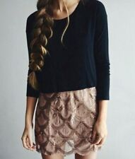 NEW FREE PEOPLE SCALLOP ROSE GOLD SILVER SEQUIN CHIFFON SKIRT BLUSH PINK XS 0