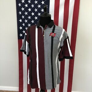 vtg 90s Tampa Bay Bucs Striped Polo Shirt men's LARGE buccaneers nfl red 2d779p