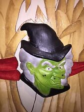 "HTF Vintage Halloween Union 19"" Green Witch Face Lighted Blow Mold Wall Decor"