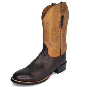 Lucchese 2000 Two Tone Brown Bullhide Roper Cowboy Western Boots Men's SZ 8.5 B