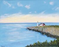 Seascape Lighthouse Painting Original Canvas Art 16 by 20In By Chernetsova