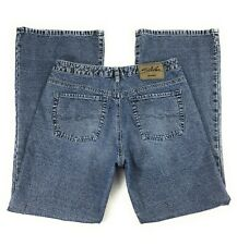 Silver Button Fly Mid Rise Distressed 100% Cotton Blue Jeans Men's 33x33