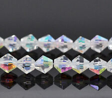 50 Clear AB Faceted Bicone Crystal Glass Beads 6 x 6mm bgl0502