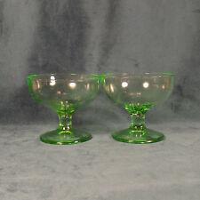 VINTAGE GREEN DEPRESSION GLASS DESSERT DISHES SET OF 2