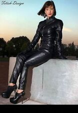 Genuine Leather Catsuit Lederoverall Long Zipper Sexy Dress Cat suit kinky Dress