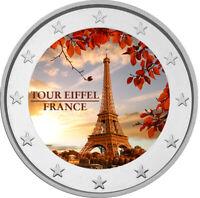 2 Euro Gedenkmünze mit Eiffelturm coloriert mit Farbe  /  Farbmünze Frankreich
