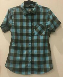 women's medium Club Ride Bandara Jersey blue plaid Short Sleeve buttons 21-995