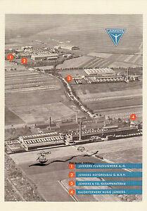Karte: Junkerswerke Dessau, Werbeblatt 1929 - Nachdruck
