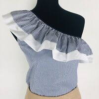 J.CREW NWT White Navy One Shoulder Ruffle Blouse Shirt Striped Size 4 & 6