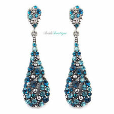 Teal & Aqua Blue Crystal Diamante Long Teardrop Dangling Dangly Drop Earrings