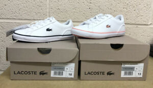 LACOSTE LEROND WHITE TRAINERS PINK OR BLACK KIDS LEATHER UK 10/11/12/13/1