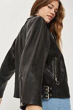 Topshop Oversized Leather Biker Jacket size 12/40 US 10 RRP £225.00
