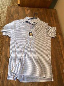 Johnnie O Prep Formance Mens Large Blue White Striped Surf Golf Polo Shirt