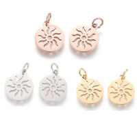5x 304 Stainless Steel Pendants Flat Round With Sun DIY Craft Making 14x12x1.1mm