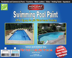 Swimming Pool Paint, 2-Part Epoxy Acrylic Coating, 1gallon Kit, Cool Blue Color