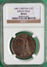 1887 Great Britain 1/2 Crown Hubilee Head Silver Half Crown MS63 NGC KM#764