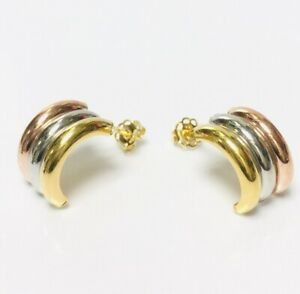 OLD STOCK 9ct Gold 3 Colour Wedding Ring Band Hoop Stud Earrings 1.4g Pair