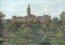 Glasgow University Scotland, Gilmore Hill, Fountain, United Kingdom Art Postcard