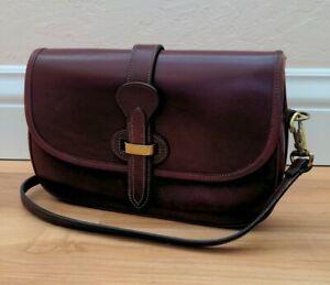 Vintage Dooney & Bourke Equestrian Saddle Bag Burgundy Leather