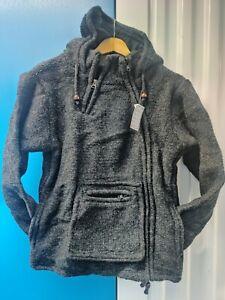 Handmade Fleeceline kangaroo pocket Winter unisex thick woolen charcoal Jacket .