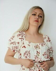 New Ex Nobodys Child Off White+Rust Leaf Button Off Shoulder Crop Top Size 10-16