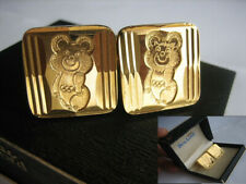 USSR Vintage Cufflinks 1980 Olympic Games in Moscow Mascot MISHA GOLD PLATED