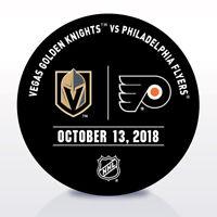 Philadelphia Flyers Issued Unused Warm Up Puck 10/13/18 Vs Vegas Golden Knights