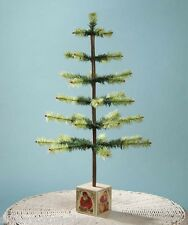 Feather Tree in Santa Image Block Base Bethany Lowe Christmas lg3472
