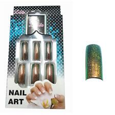 10 künstliche Nägel French Tips Glitter Grün Gold Nails Lang Nail Art FL-07-11