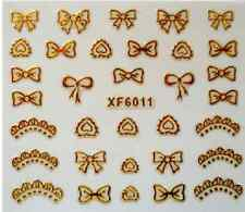 3D Nail Art Decals Transfer Stickers French Tip Gold Bows (XF6011)