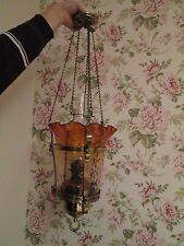 Victorian Amber Hanging rise and fall Oil Lamp not cranberry