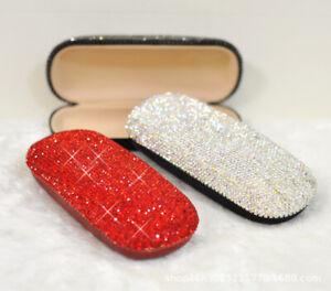 Bling Crystal Diamante Rhinestone Eyeglass Glasses Storage Box Case cover Holder