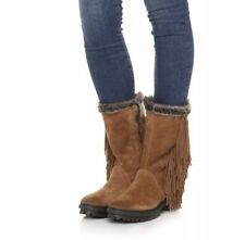 NEW Sam Edelman Tilden Faux Fur Fringe Bootie Size 7.5 MOCHA SUEDE $150 NIB