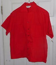 Nos 50's Dutchmaid Bright Red Shirt Jac Camp Collar 2 Pocket Rockabilly Cotton M