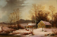 """oil painting handpainted on canvas """"Farmstead in Winter """""""