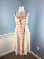 SAJA Anthropologie Scalloped Silk Cocktail Formal Dress S 4 Coral Peach Blue EUC