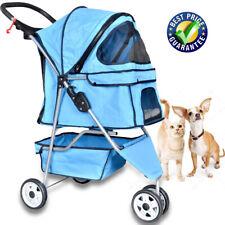 Pet Stroller Cat Stroller Dog Cage 3 Wheels Stroller Travel Folding Carrier Blue