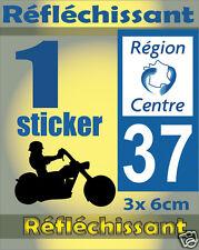 1 Sticker REFLECHISSANT département 37 rétro-réfléchissant immatriculation MOTO