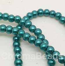 3mm Glass Faux Pearls strand - Teal (230+ beads) jewellery making, blue-green