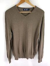 J Crew Sweater Size Medium Mens Cashmere Blend Brown Knit Long Sleeve V-Neck