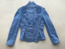 OILILY linen and fleece blue blazer / jacket with embroidered flowers, size 36