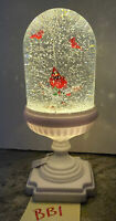 "Musical 11"" Lighted Christmas Snow Globe Water globe SWIRLING Cardinal Tree (BB1"