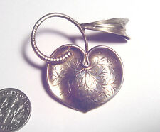 FABULOUS 50's GK G.Kaplan SWEDISH Sterling 925 ART NOUVEAU Style LEAF PIN