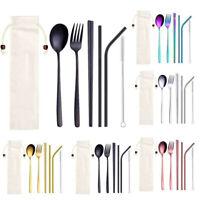 6Pcs Stainless Steel Metal Straw Spoon Fork Chopsticks Tableware Dinnerware Set