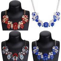 Fashion Women Flower Chunky Pendant Bib Choker Chain Statement Necklace Jewelry