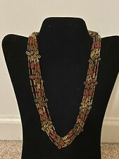 Vintage Orange Yellow Red Glass Seed Beads Mutli Strand Beaded Flower Necklace