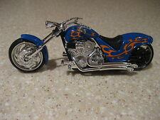 IRON CHOPPER MOTORCYCLE DIE CAST 1:18 SCALE WORKING STEERING FREEWHEELING BLUE