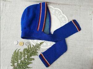 Vintage Spring Toddler Cap Tie up Blue Ear Flap Hat Retro Kids Fashion USSR 70s